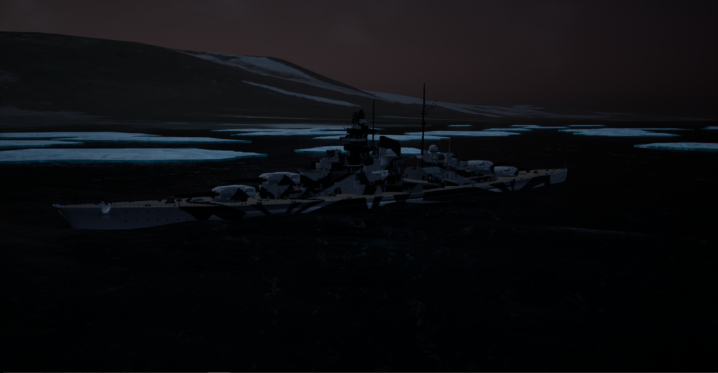 Tirpitz Spitzbergen Drift Ice Dawn September 8th 1942 0550